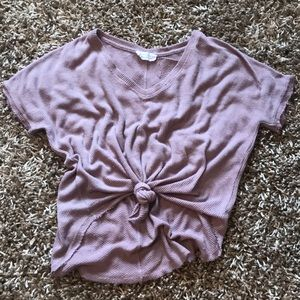 Distressed short sleeve top